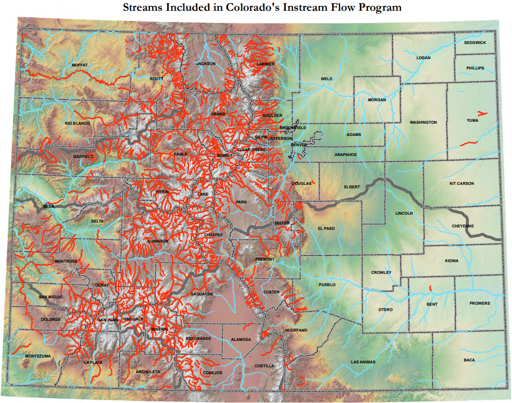 Map of streams included in colorado's instream flow program